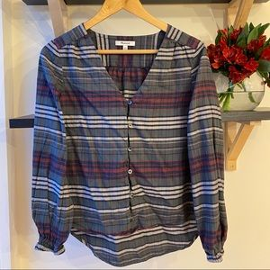 Madewell Button-down V-neck in Pineview Plaid